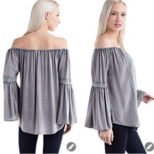 Solitaire gray off the shoulder bell sleeve top